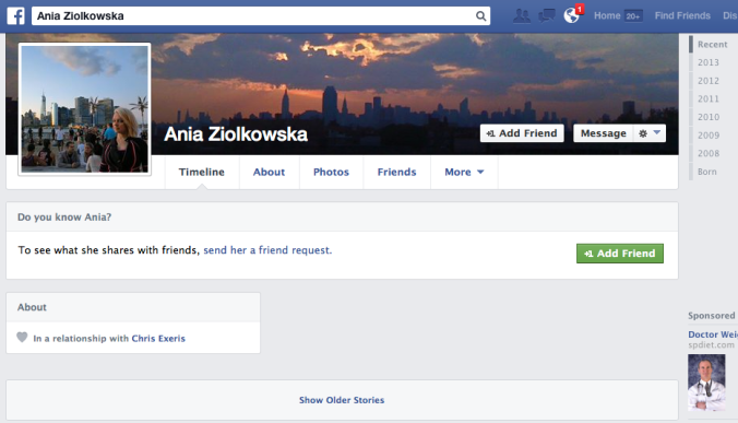 Ania Ziolkowska is advertising her adulterous relationship status